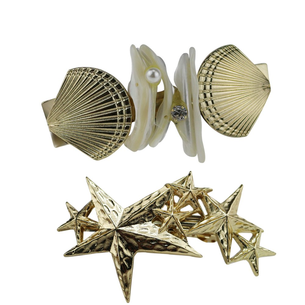 Gold Shell Starfish Hair Clips Barrettes Set Women Hair Jewelry Accessories (2pcs) GBJewelry