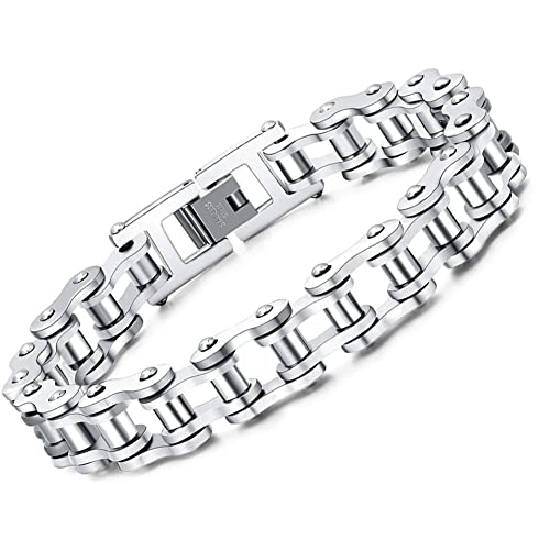acquisto speciale cerca il meglio colori armoniosi Faysting EU Bracciale catena in acciaio inox moto personalizzata roccia  stile degli uomini