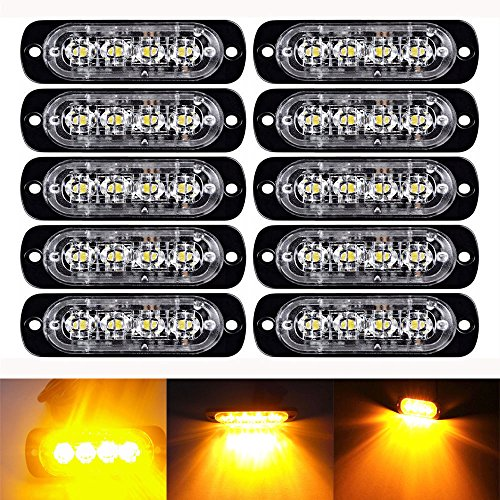 Flash Warning Light - LED Flash Warning Light, Northbear Car Truck Amber Emergency Light Front Rear Side Hazard Strobe Warning Lamp 12-24v (4LED, 10PCS)