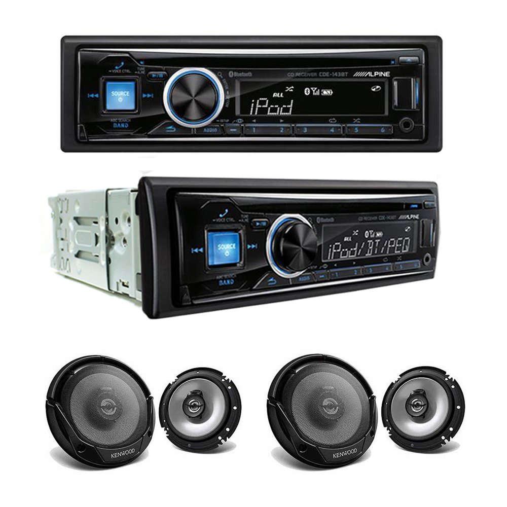 Alpine CDE-143BT CD/USB receiver With Advanced Bluetooth and Two Sets of Kenwood KFC-1665S Sport Series 6-1/2'' 2-way speakers by Alpine Innovations