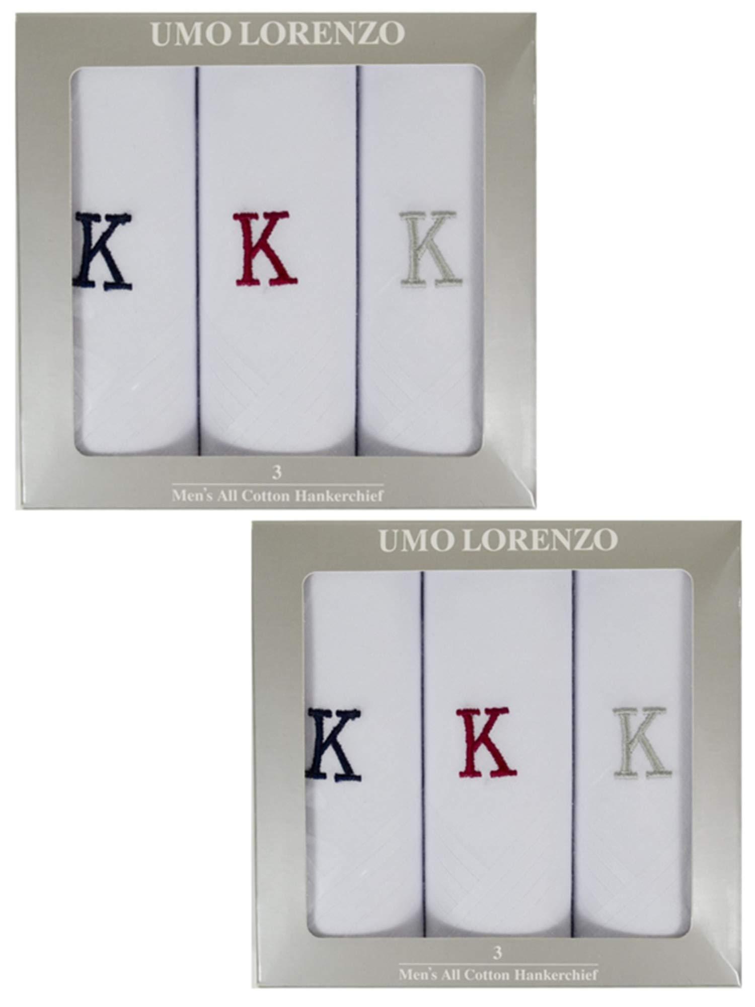 Men's 2 x 3 Pack 100% Cotton Monogrammed Handkerchiefs Initial Letter Hanky K