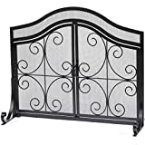 Fireplace Screen with Doors Flat Guard Fire Screens Outdoor Large...