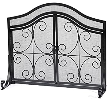 Darcie Black Brushed Gold Finish Wrought Iron Fireplace Screen Kitchen Dining