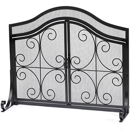 Sale!! Fireplace Screen with Doors Flat Guard Fire Screens Outdoor Large Metal Decorative Mesh Solid...