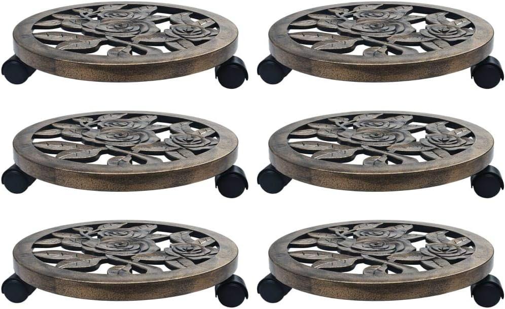 vidaXL 6X Pflanzenroller mit Bremse Untersetzer Blumenroller Transportroller Rollbrett K/übelroller Transport Blumen Topf Roller Rund Bronze 38cm Kunststoff