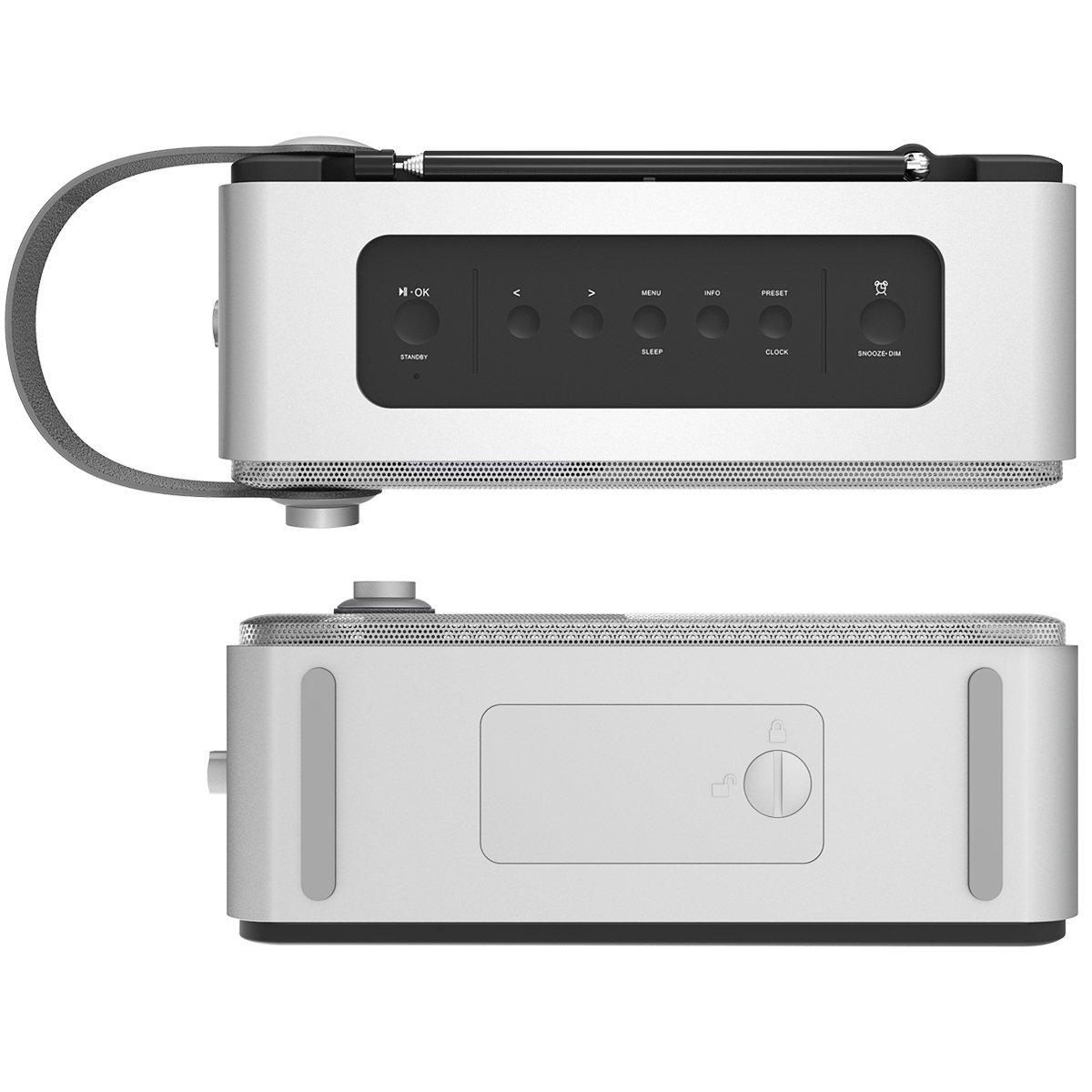 1byone DAB / FM Bluetooth Radio, Radio digital portátil con el despertador / FM / Pantalla LCD / 3.5mm Aux-in ,color plata & gris