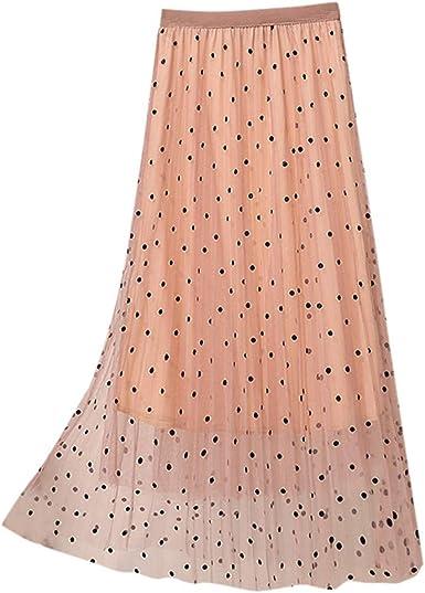 HLIYY - Falda plisada de tul para mujer, diseño de lunares rosa ...
