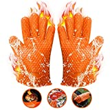 Silicone BBQ Grilling Gloves Heat Resistant Oven Mitts for Barbecue, Cooking, Baking(1 pair, Orange)