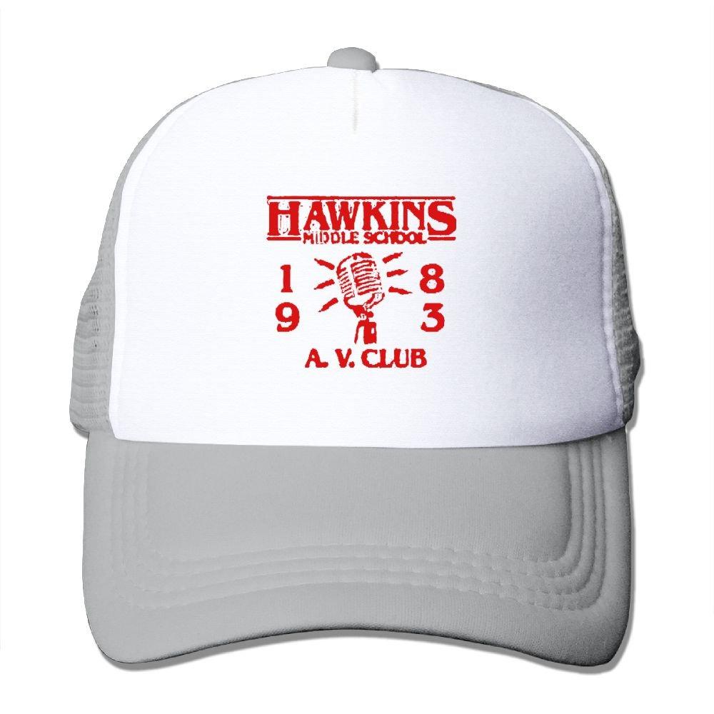 AKQQ0XXA Custom Fashion Unisex Hawkins Middle School AV Club Stranger Hip Hop Caps Hat Ash