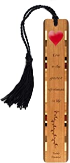 product image for Pablo Picasso Love Quote, Engraved with Color Wooden Bookmark with Tassel