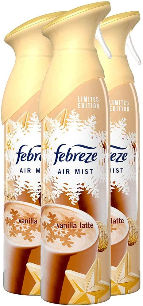 Febreze Air Mist Air Freshener Spray, Winter Collection Limited Edition, Vanilla Latte Scent, 10.1 oz. (Pack of 3)