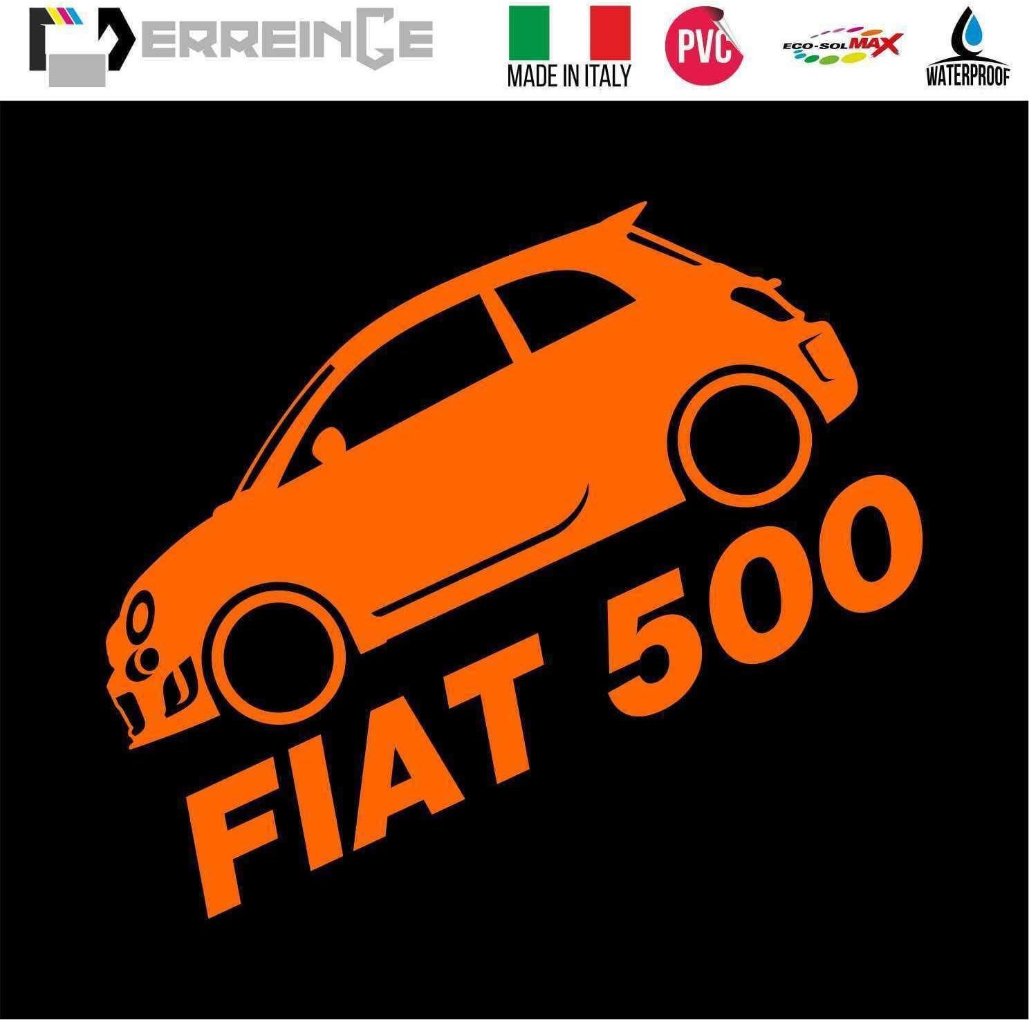 ERREINGE Sticker compatibile per FIAT 500 LATERALE JDM TUNING ARANCIONE FLUO Adesivo prespaziato in PVC per Auto Lunotto Finestrino cm 12