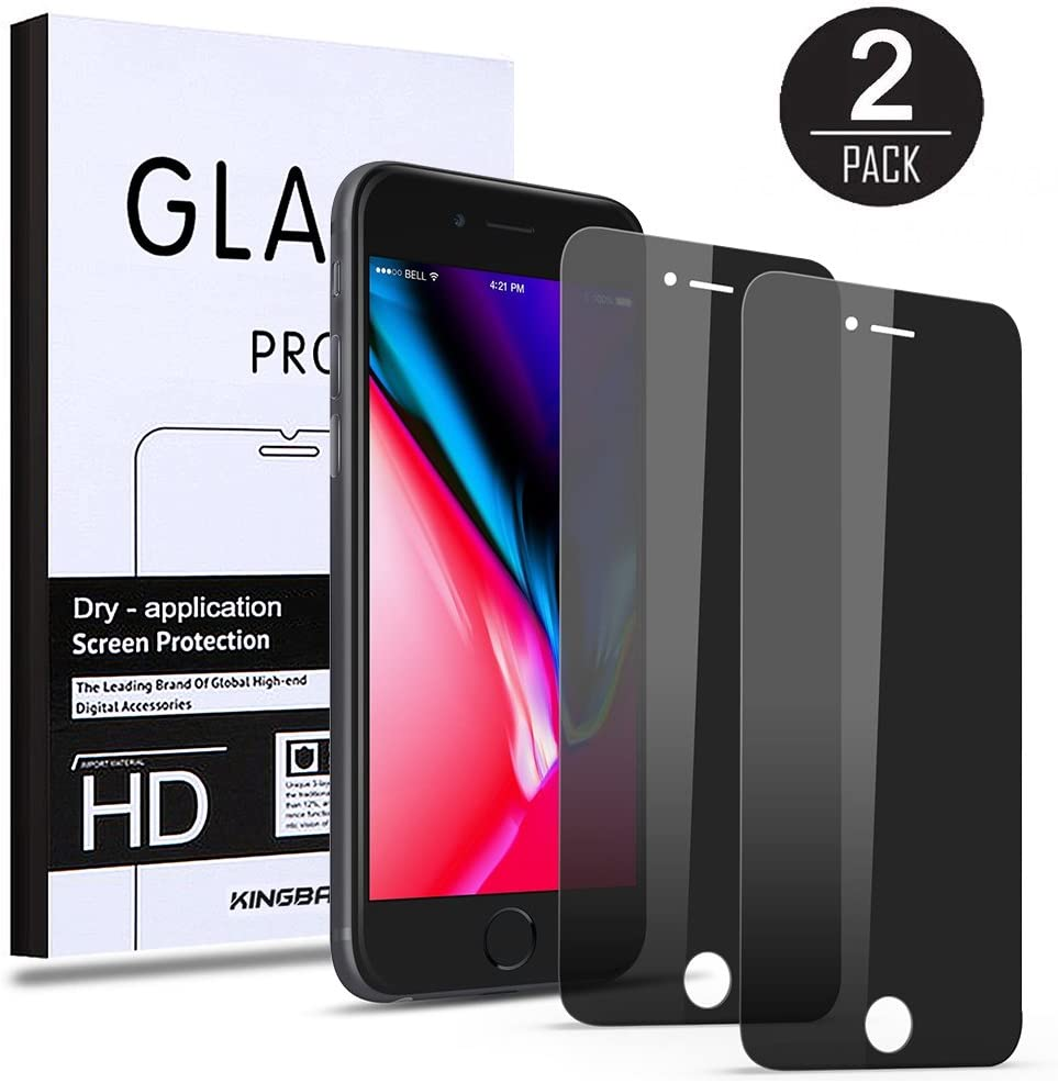 (2 Pack) Privacy Screen Protector for iPhone 8 Plus / 7 Plus KINGBACK [Anti-Spy] [Anti-Scratch] [3D Touch Compatible] Tempered Glass for iPhone 7 Plus 8 Plus (5.5 INCH, Black)