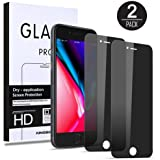(2 Pack) iPhone 8 Plus/7 Plus Privacy Screen Protector, KINGBACK [Anti-Spy] [Anti-Scratch] [3D Touch Compatible] Tempered Glass Screen Protector for iPhone 7 Plus 8 Plus (5.5 INCH, Black)