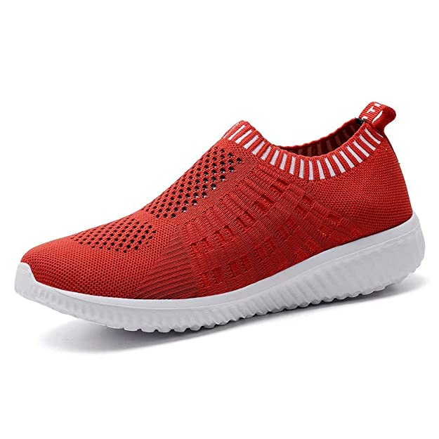 konhill Women's Lightweight Casual Walking Athletic Shoes Breathable Mesh Work Slip-on Sneakers 5 US Red,35