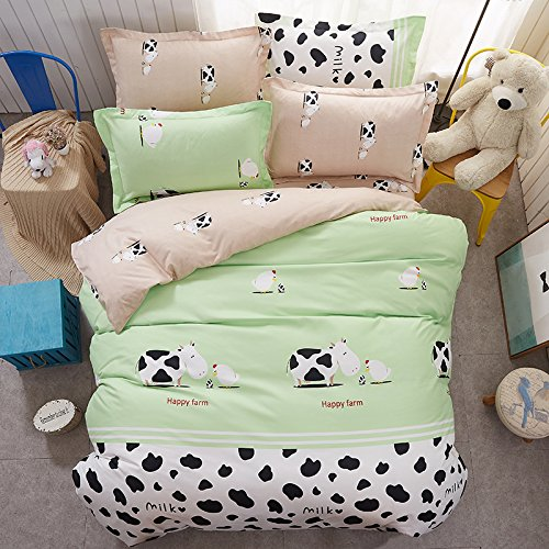 4pcs Bedding Set Duvet Cover Set 100% Combed Cotton Flat Sheet Duvet Cover PillowCase KY Twin Full Queen Happy Animal Cartoon Design (Twin, Happy Farm Cow, White)