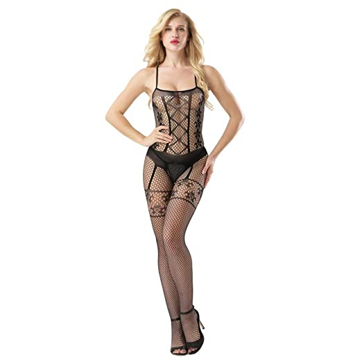 1daa1a34f26 Image Unavailable. Image not available for. Color  KingWo Sexy Lingerie Women  Open Crotch Bodystockings Perspective Underwear Fishnet Pajama
