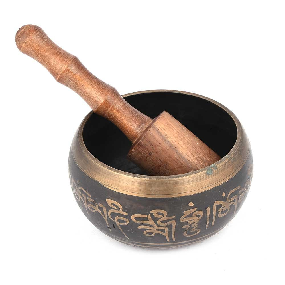Indian Shelf Brass Golden Singing Meditation Spa Bowl