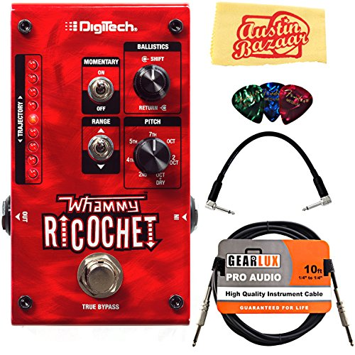 DigiTech Whammy Ricochet Pitch Shift Pedal Bundle with Instrument Cable, Patch Cable, Picks, and Austin Bazaar Polishing Cloth