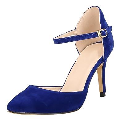 DULEE Damen Strap Stiletto Heel Spitzschuh Sandalen High Heel Pumps