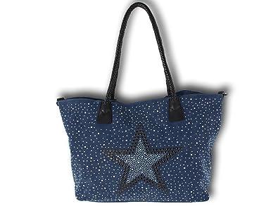 52da151b411ed K Company Damen Taschen Handtasche Schultertasche Umhängetasche Shopper  Stern Nieten Canvas Glitzer (Blau)