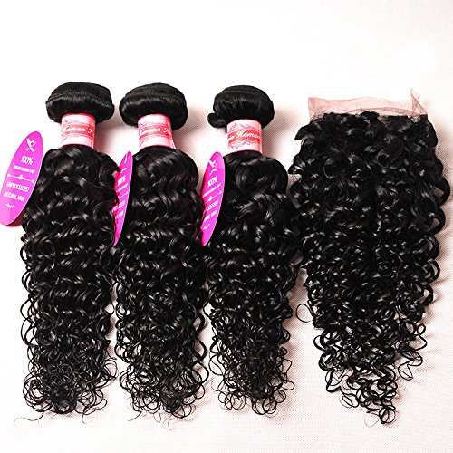 Perstar Hair 7A Grade Water Wave 3 Bundles Closure Uprocessed Virgin hair with 4''4'' lace closure free part (16 18 20 +16 free part, Natural Color)