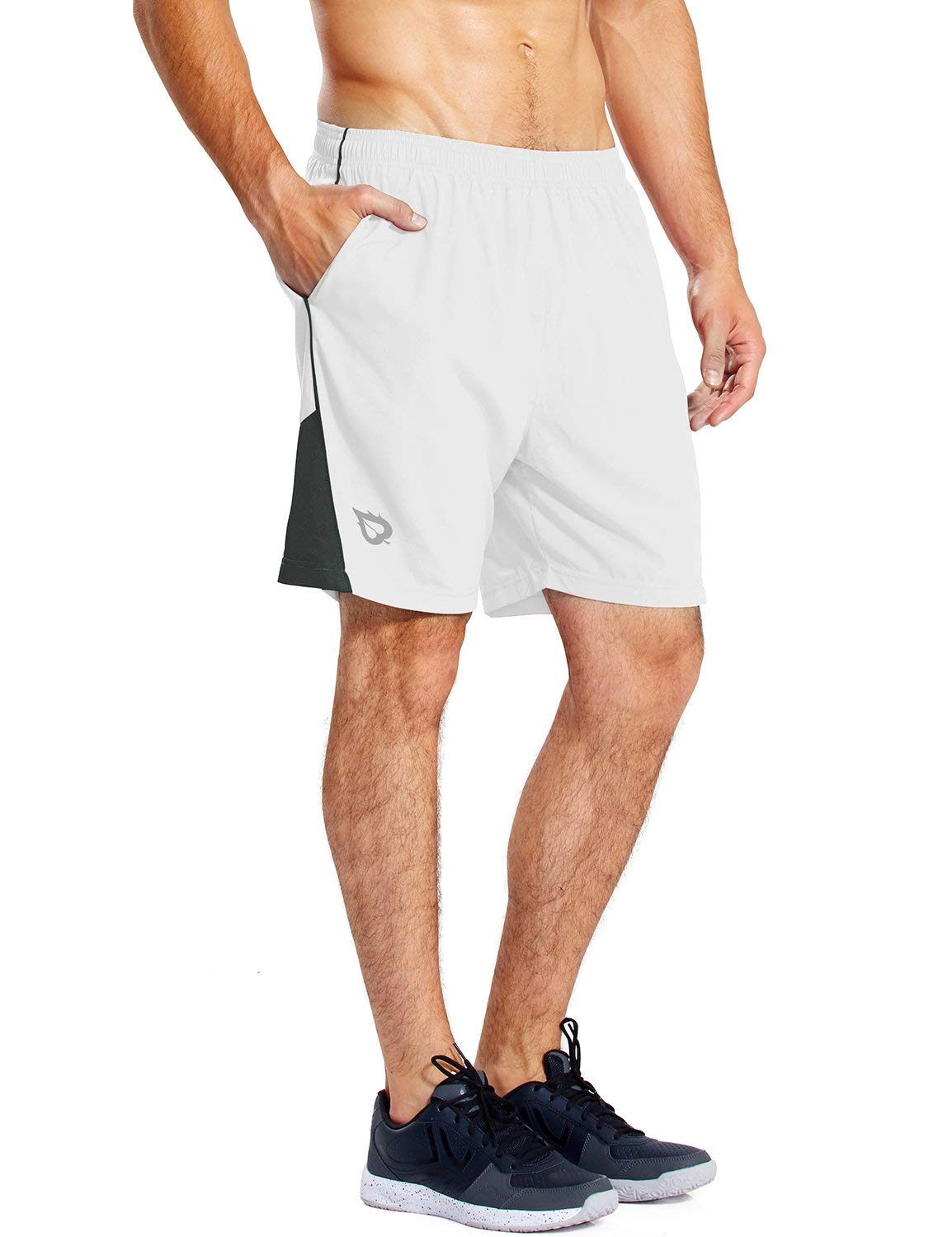 Baleaf Men's 7 Inches Quick Dry Workout Running Shorts Mesh Liner Zip Pockets White Size S
