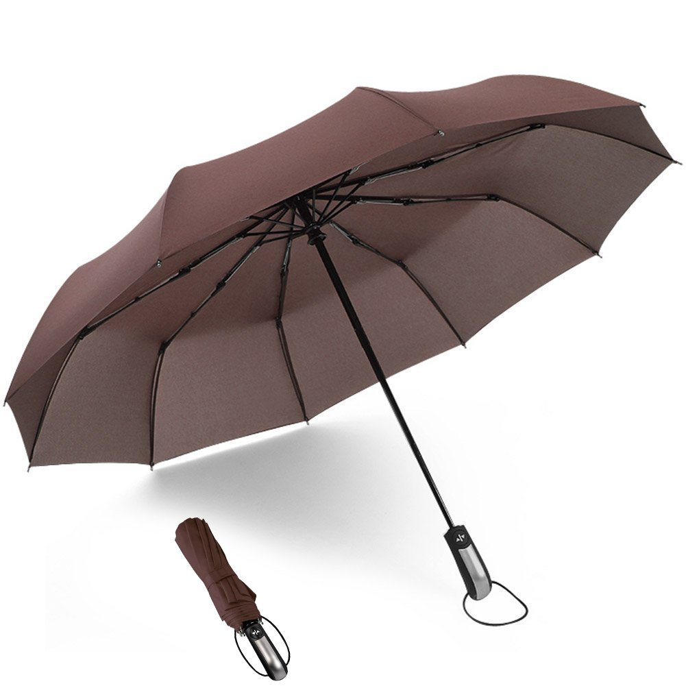 ATUDISUN 210T Business Travel Windproof Compact Folding Umbrella Automatic Open Close 10 Ribs Wide Canopy for Men and Women Coffee