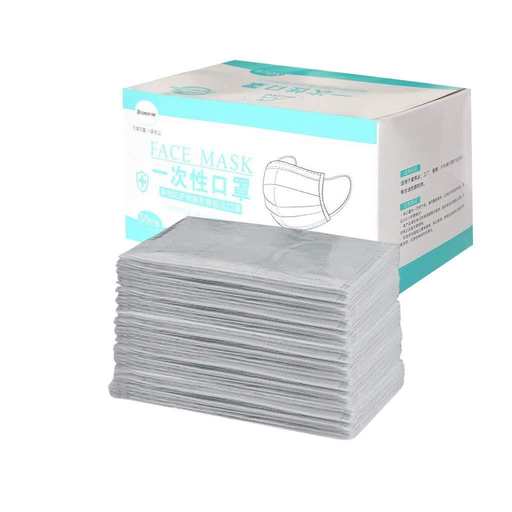 50Piezas Gris Adulto Protección Personal 𝐌𝐚𝐬𝐜𝐚𝐫𝐢𝐥𝐥𝐚𝐬, Protección 3 Capas Transpirables A Prueba de Polvo con Elástico para Los Oídos