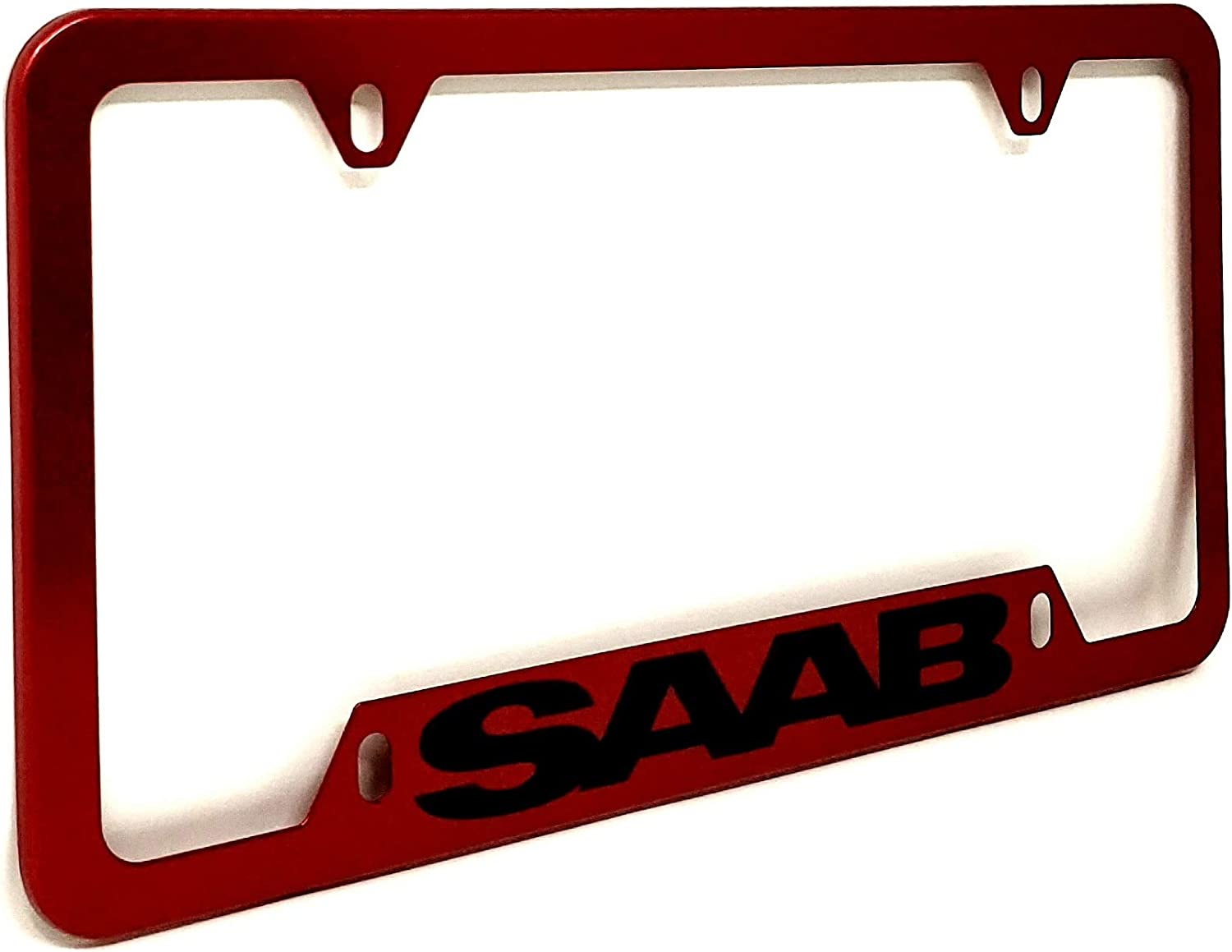 ZENCO for SAAB 9-2 9-3 etc Car New License Plate Frame Cover Hard Waterproof Weatherproof Durable Plate Holder with Screw Caps Premium Metal 4 Holes RED with Black Letters