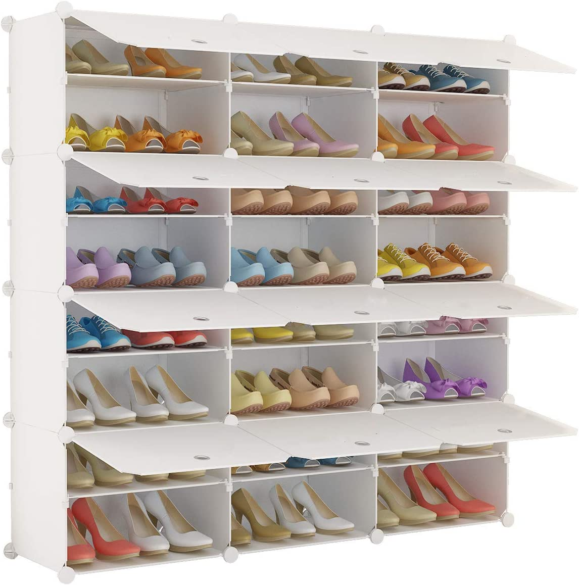 2 Row 9 Grids Portable Shoe Boot Rack Shelf Closet Storage Organizer Cabinet