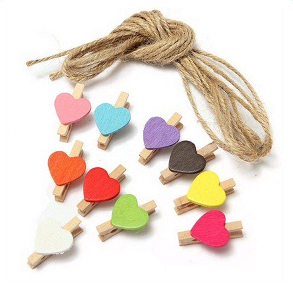 iTemer, 10 mini mollette colorate in legno, per appendere carta o fotografie, con 140 cm di corda