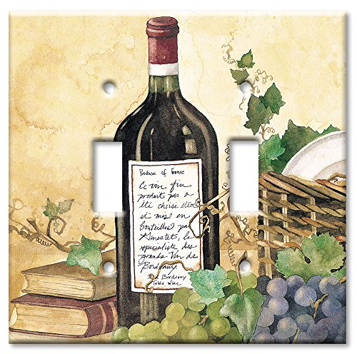 Art Plates - Wine Table Switch Plate - Double Toggle - Light Switch Outlet Cover Art