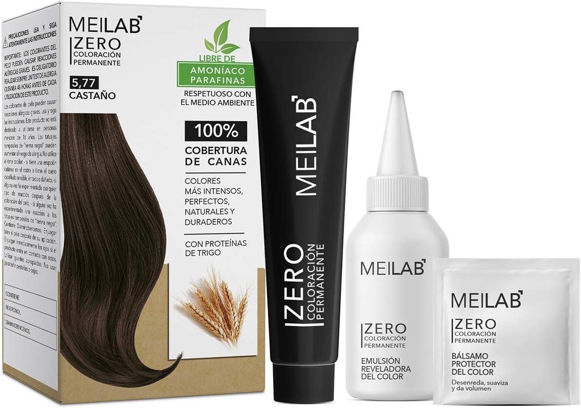 MEILAB - Tinte permanente sin amoniaco - Pack de 3 unidades - Color Castaño tabaco claro #5-77
