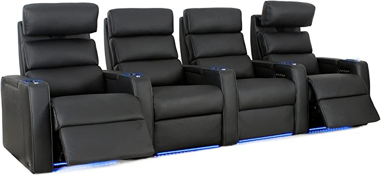 Amazon Com Octane Seating Dream Hr Home Theater Seats Black Top Grain Leather Power Recline Row Of 4 Furniture Decor