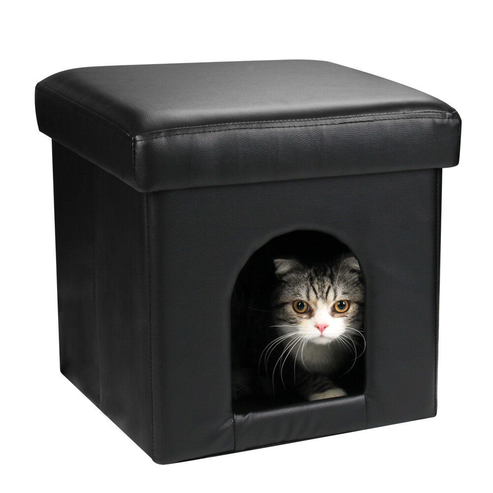 DEKINMAX Collapsible Storage Ottoman Pet House Cat Condo Cat Cube Small Dog Rabbit Condo and Soft Stool (Black)