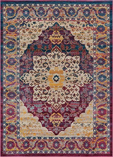 Well Woven Curie Boho 5×7 5 3 x 7 3 Area Rug Medallion Multi Purple Modern Distressed Traditional Vintage Oriental