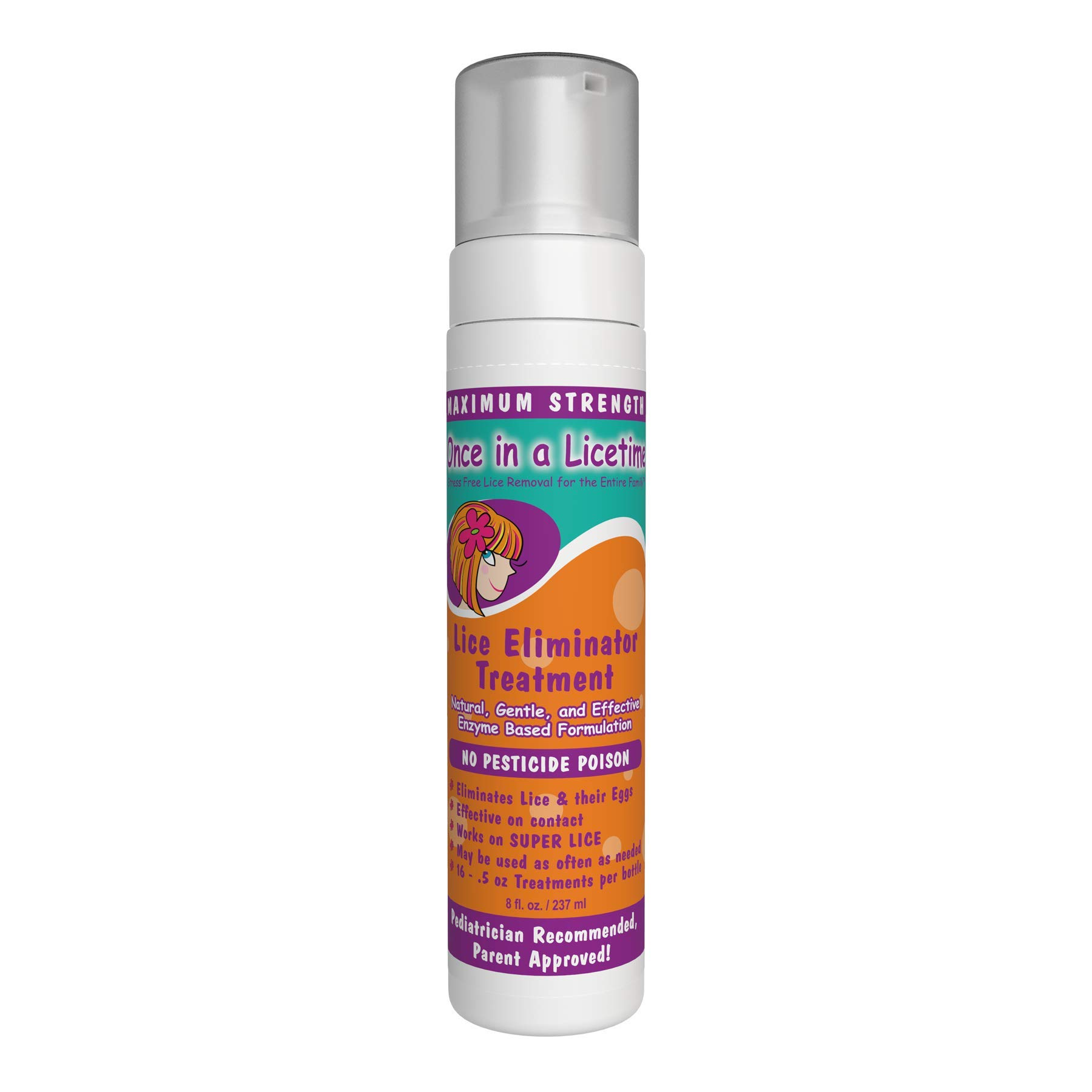 Lice Eliminator Mousse - Once in a Licetime All-Natural Lice Removal Treatment - Enzyme Lice Treatment for Adults - Enzyme Lice Treatment for Kids by Once in a Licetime