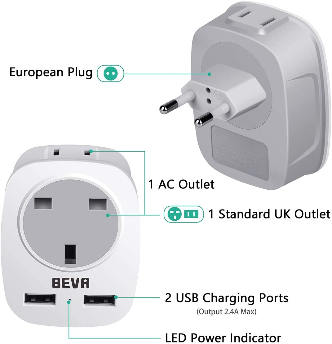 BEVA Europe Outlet Travel Adapter with 2 USB Ports Power Adapter for UK to Most of Europe Spain Iceland Italy Germany Poland and More UK to EU European Plug Adapter