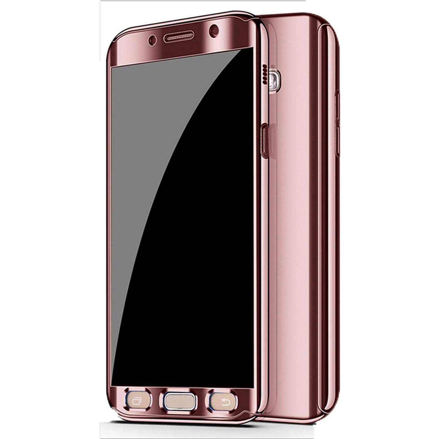 Galaxy S7 Edge Case, Ultra Slim Electroplate 360 Degree Full Body Protection Mirror Case with Tempered Glass Screen for Galaxy S7 Edge (Rose Gold) by BXKM