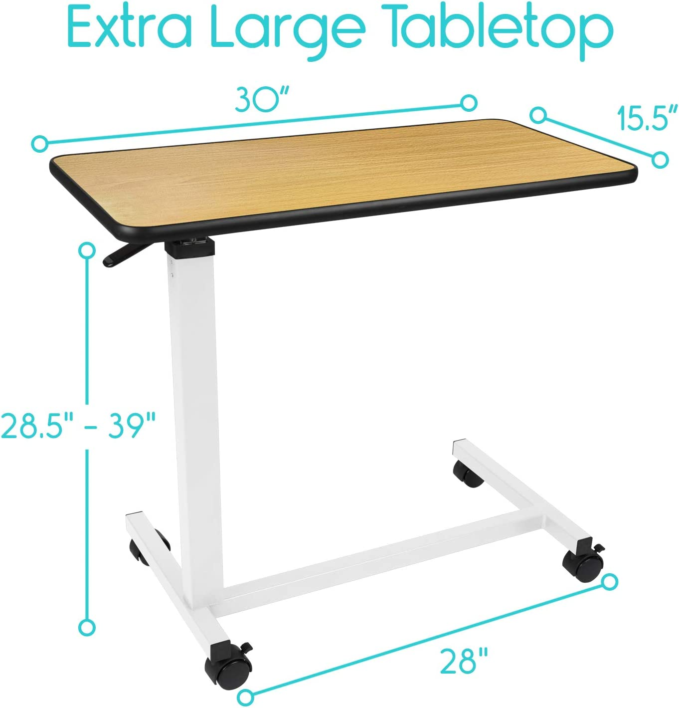 Vive Overbed Table (XL) - Hospital Bed Table - Swivel Wheel Rolling Tray - Adjustable Over Bedside Home Desk - Laptop, Reading, Eating Breakfast Cart Stand - Bedridden, Elderly, Senior Patient Aid: Kitchen & Dining
