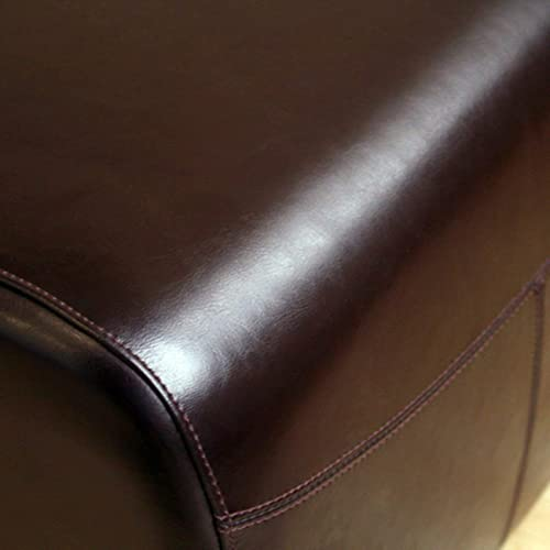 Baxton Studio Full Leather Ottoman, Dark Brown