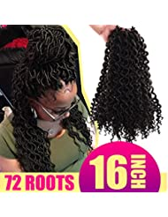 "Goddess Locs Crochet Braids New Curly Faux Locs Crochet Hair (24Roots/Piece 3 Pieces) 16"" Deep Faux Locs Braiding Hair Extension For Women(#4)"