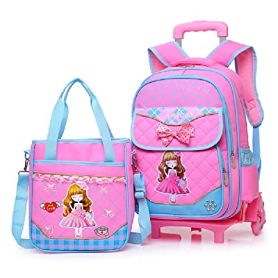 Fanci Bowknot Princess Style Elementary Girls Rolling School Backpack Trolley Waterproof Nylon Primary Carry on Luggage with Six Wheels | Kids' Backpacks
