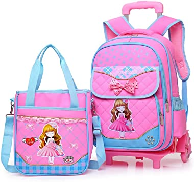 Fanci Bowknot Princess Style Elementary Girls Rolling School Backpack Trolley Waterproof Nylon Primary Carry on Luggage with Six Wheels