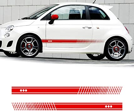 Allyard Für 500 Auto Seite Karosserie Autoaufkleber Wetterfest Streifen Aufkleber Racing Seite Auto Tattoo Karosserie Deco 183 11 Type2 Rot Auto