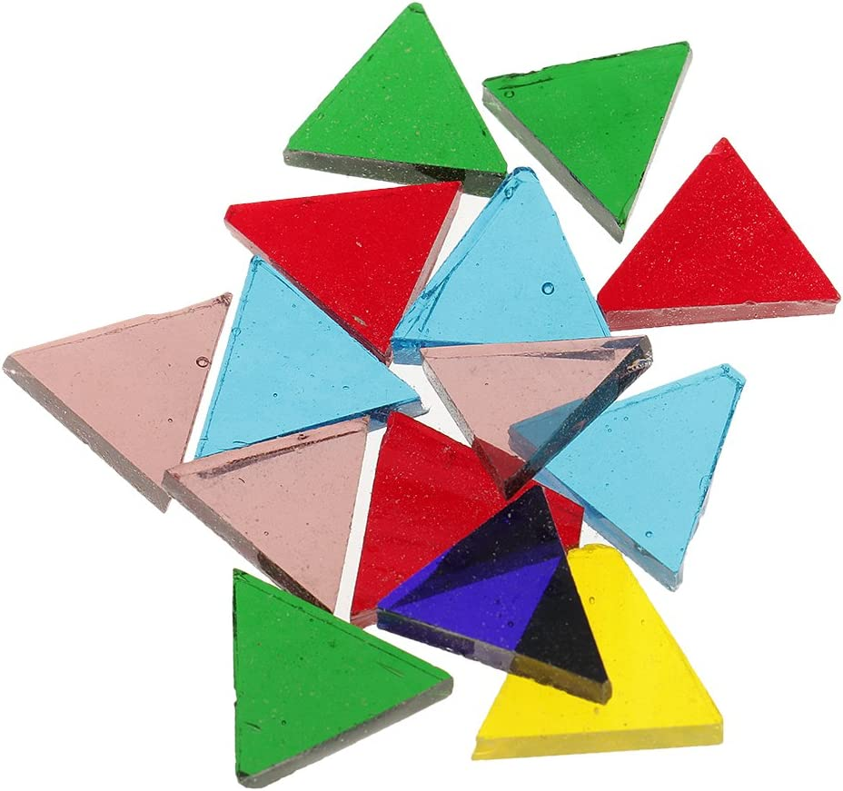 dailymall 320g Mehrfarbige Klare Quadratische Dreieck Glasmosaik Fliesen F/ür Schulkinderhandwerk
