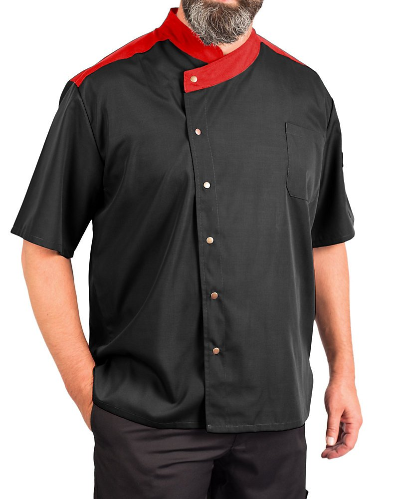 KNG Lightweight Uptown Snap Front Chef Coat, Black with Red Accent, 2XL