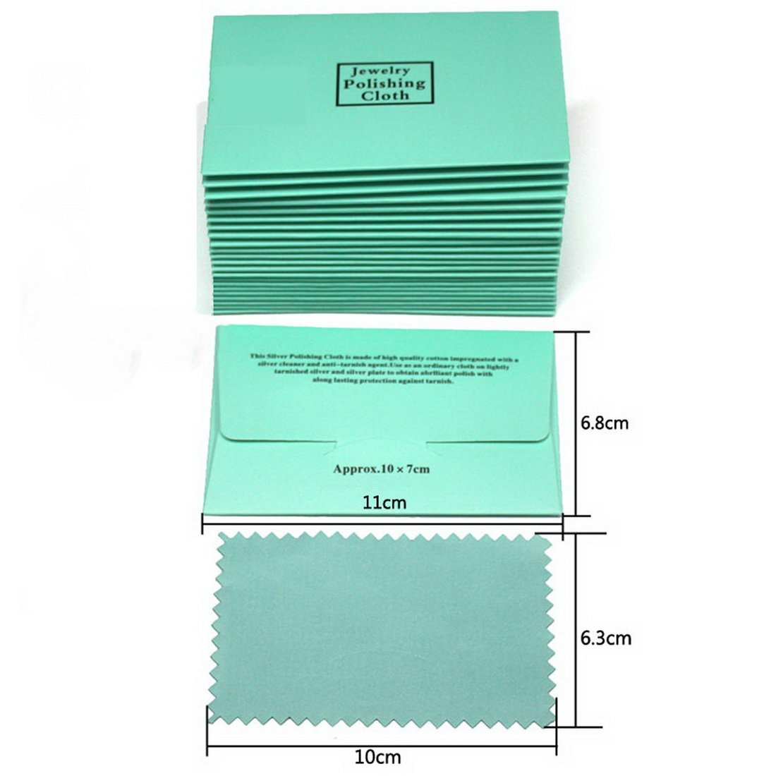 Mecoo Cotton Jewelry Polishing Cloth 6.3x10CM Well Packed for Silver Gold & Most Other Jewelry JC