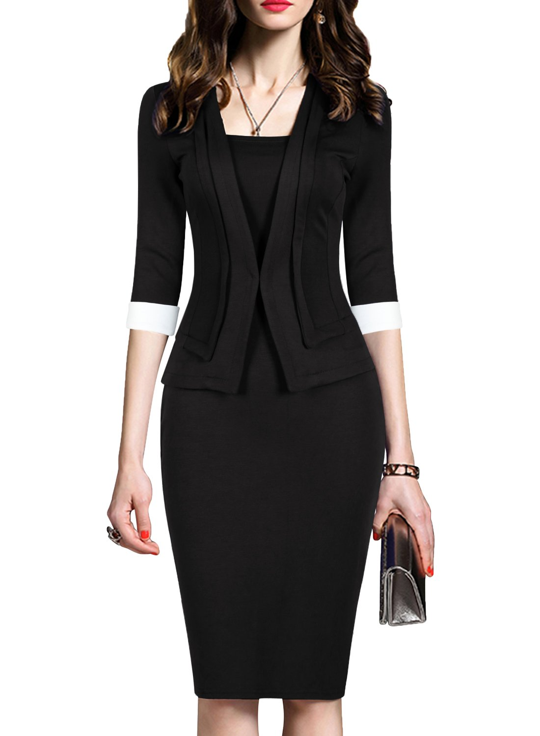 WOOSEA Women's 2/3 Sleeve Colorblock Slim Bodycon Business Pencil One-Piece Dress